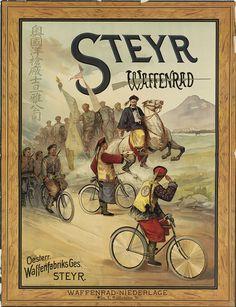 DESIGNER UNKNOWN STEYR WAFFENRAD. Circa 1900.  50x38 1/2 inches, 127x97 3/4 cm. Ritter & Kloeden, Nurnberg.