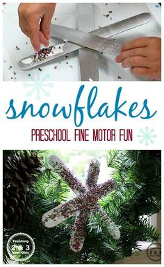 These  quick and easy snowflake ornaments are a fun and easy winter craft for preschoolers and adds some good fine motor, too! From Teaching 2 and 3 Year Olds