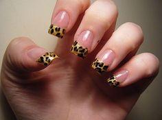 French Tip Cheetah Nails Designs