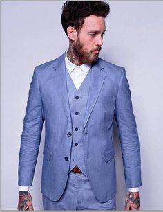 >> Click to Buy << 2017 Latest Coat Pant Designs Light Blue Linen Suits Men Casual Slim Fit Summer Beach Custom Simple Blazer Men 3 Piece Terno W62 #Affiliate