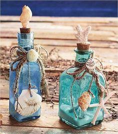 Crafts with Seashells and Bottles 39 Set Of 2 Glass Bottles Seashells Seaside Home Ocean Beach theme Decor Coral Sand 3 bottle crafts beach crafts with seashells and bottles 6 - Viral Decoration Seaside Home Decor, Coastal Decor, Coastal Style, Beach Themed Crafts, Beach Crafts, Glass Bottle Crafts, Wine Bottle Art, Wine Bottles, Decorative Glass Bottles