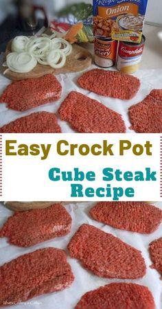 Crock Pot Cube Steak Ingredients: 6 cube steaks 1 medium onion peeled and sli. - Crock Pot Cube Steak Ingredients: 6 cube steaks 1 medium onion peeled and sliced into rings 1 c - Crockpot Dishes, Crock Pot Slow Cooker, Crock Pot Cooking, Beef Dishes, Crock Pot Cube Steak, Crock Pot Dinners, Beef Cube Steak Recipes, Minute Steak Recipes, Beef Cubed Steak