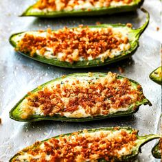 These easy, BAKED jalapeno poppers are creamy, cheesy, crunchy and wickedly addicting! They are are an easy, make ahead appetizer everyone will swoon over! Jalapeno Popper Recipes, Jalapeno Poppers, Stuffed Jalapeno Peppers, Summer Salad Recipes, Summer Salads, Cooking Recipes, Healthy Recipes, Dishes Recipes, Sauce Recipes