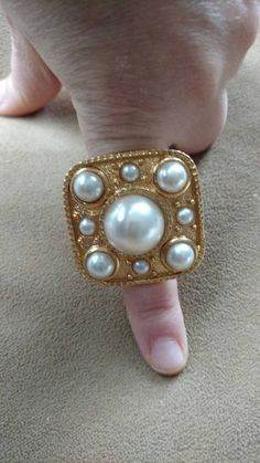 sale Gold ring// pearl// adjustable// big // gift by truthorwear