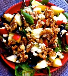Delicious!  Apple Gorgonzola Salad with homemade dressing (recipe included)