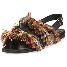 Manolo Blahnik Cuture Fringe Flat Slingback Sandal (14.860 RUB) ❤ liked on Polyvore featuring shoes, sandals, fringe flat sandals, strappy flat sandals, flat sandals, leather flats and flat pumps