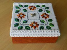 Ook Wooden Jewelry Box With Handmade Embroidery On The Top