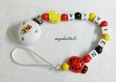 Schnullerkette Käfer Engt Biene Name Baby md169 von myduttel auf DaWanda.com