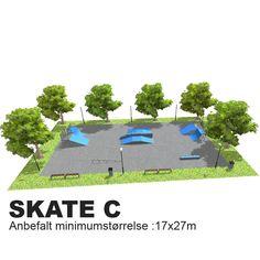 En skatepark hvor de fleste finner utfordringer og uten de høyeste elementene er denne super på en skole. Ønskes en større park kan man supplere med en ramp 140. Anbefalt minimumstørrelse: 17x27m