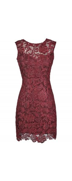 Alythea Metallic Lace Overlay Fitted Dress in Burgundy  www.lilyboutique.com