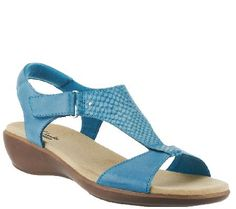 Clarks Leather T-strap Sandals w/ Adj. Strap - Roza Pine
