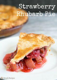 Strawberry Rhubarb Pie on SimplyRecipes.com Best. Pie. Ever.