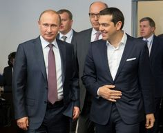 Russian President Vladimir Putin, left, and Greek Prime Minister Alexis Tsipras arrive for their talks at the St. Vladimir Putin, The St, Cold War, Historian, Greece, Suit Jacket, People, Prime Minister, Fashion