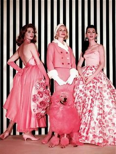 "Models Suzy Parker, Sunny Harnett and Dovima in ""Funny Face"", 1957. Costume by Edith Head."
