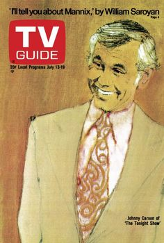 TV Guide July 13, 1974 - Johnny Carson of The Tonight Show.  Illustration by Bernard Fuchs.