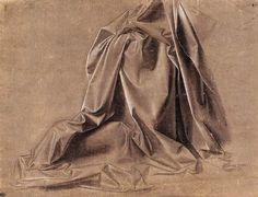 Leonardo da Vinci, 1452-1519, Italian, Drapery for a seated figure, 2nd half of 15th century.  Brush and grey distemper on primed grey linen canvas, 18.1 x 23.4 cm.  Musée du Louvre, Paris.  High Renaissance.