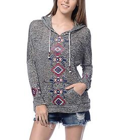 Empyre Cleo Grey & Tribal Pullover Hoodie