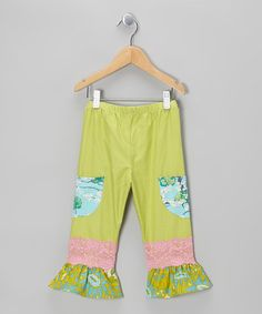 Take a look at this Green Check Ruffle Pants - Infant, Toddler & Girls by CiCi & Ryann on #zulily today!