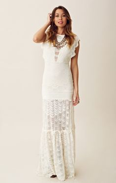 Nightcap Caletto Maxi Dress: I would consider this a perfect wedding dress for casual seaside wedding; beautiful scallop lace construction! Wish I saw this when I got married!