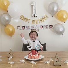 Rikkun is now 1 year old - Gateau anniversaire 1 an garcon - 結婚式 Simple First Birthday, First Birthday Party Themes, Wild One Birthday Party, Birthday Themes For Boys, Baby Boy First Birthday, Birthday Party Decorations, Monster 1st Birthdays, First Birthdays, Birthday Photo Banner