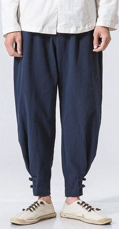 INCERUN Mens Casual Baggy Cotton Linen Harem Pants Solid Color Loose Frog Button Trousers is warm, see other men pants on NewChic. Linen Drawstring Pants, Linen Pants, Harlem Pants, Pants Outfit, Men's Pants, Dynasty Clothing, Fashion Pants, Mens Fashion, Baggy Clothes