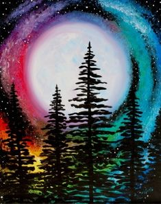 Join us for a Paint Nite event Sun Dec 2017 at 377 Maple Ave W Vienna, VA. P… Join us for a Paint Nite event Sun Dec 2017 at 377 Maple Ave W Vienna, VA. Purchase your tickets online to reserve a fun night out! Cute Canvas Paintings, Easy Canvas Painting, Diy Painting, Painting & Drawing, Canvas Art, Bright Paintings, Moon Painting, Rainbow Painting, Rainbow Art