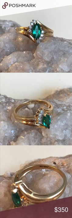 Vintage 14k Emerald and Diamond Ring This gorgeous Emerald and diamond ring is marked DK-14 KP. KP stands for carat plum, meaning a very high-quality 14 karat gold. It has a gorgeous marquis cut stone in the center which appears to be a natural emerald of superior color. The marquee is flanked on both sides by several diamonds.  Make your honey,s valentine a wish come true! Jewelry Rings