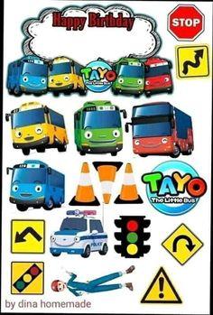 Bus Cake, Tayo The Little Bus, Birthday Party Themes, Happy Birthday, Transportation Party, Cake Logo, Baby Shark, Birthday Cake Toppers, Spiderman