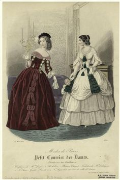 Fashion plate, 1850 France, Petit courrier des dames