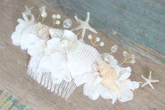 Beach Wedding Comb Seashell Starfish Pearls Crystals & by deLoop