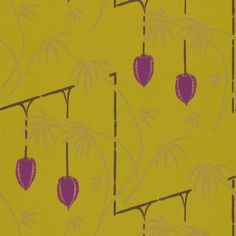kimiko by harlequin UK, tamika wallpaper    35616A Japanese inspired lantern design which represents the fragile beauty and spiritual tranquility of the Japanese garden.Collection:- Tamika Wallpapers   Colour:- Aubergine, Lime, Gold and Slate