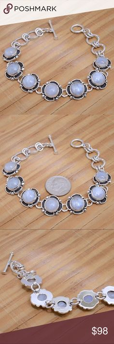 """‼️Clearance‼️Sterling Silver & Moonstone Bracelet Stamped """"Sterling"""".   This is not a stock photo. The image is of the actual article that is being sold  Size: 8 inches long  Sterling silver is an alloy of silver containing 92.5% by mass of silver and 7.5% by mass of other metals, usually copper. The sterling silver standard has a minimum millesimal fineness of 925.  All my jewelry is solid sterling silver. I do not plate.   crafted in Taxco, Mexico.  Will ship within 2 days of order…"""