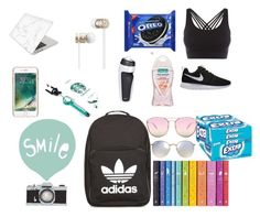 """""""This is my beautiful what's in my back pack"""" by favouro on Polyvore featuring adidas, Ray-Ban, Quay, Seventy Tree, Griffin, Recover, Beats by Dr. Dre, NIKE and Pepper & Mayne"""