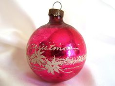 Vintage Shiny Brite Merry Christmas Ornament, Hot Pink Holiday Ornament