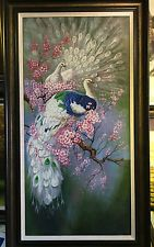 Pure Hand-painted Oil Painting Rare White Peacock Plum Blossom Tree No Frame