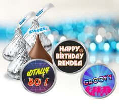 80s Birthday Party Hershey Kiss Stickers Retro Disco Favor | Etsy 80s Birthday Parties, It's Your Birthday, Happy Birthday, Hersey Kisses, Round Labels, Printing Labels, Favor Tags, Party Favors, Messages