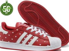 Officiel Adidas Superstar II Points Blancs Rouge Femmes (Stan Smith Pas Cher)