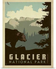 Glacier National Park, Montana - Retro Travel Poster