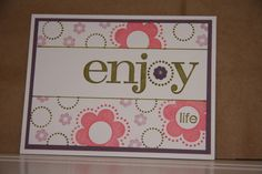 Stampin' Up 'Enjoy Every Moment', reverse masking technique, Old Olive, Regal Rose, Pale Plum inks