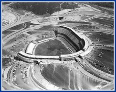Los Angeles,1962 - Dodger Stadium is taking shape in the Chavez Ravine, ballpark would open April 10th of that year
