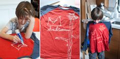 Drawing with bleach pens...must try this with the kids to make some new t-shirts for Spring!