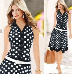 New Summer Dress 2015 Women Fashion Polka Dot Sleeveless V neck Print dress Black/White One piece Dress