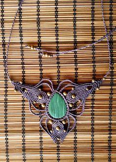 Macrame necklace, malachite necklace, bohemian jewelry, goddess necklace, healing stone, tribal jewelry, spiritual jewelry