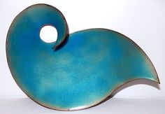 Mid Century Enamel Copper Tray Dish Abstract Teal Blue Signed FR Schlessinger