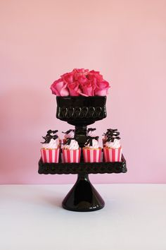 PINK FLOSS BIRTHDAY AND BABY SHOWER THEME IDEA |  Pink party and cupcakes via original partyware from Papereskimo.com