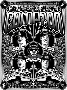 Straight Outta Compton Vintage Party Poster by: Roman Cortez