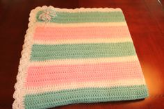 """Baby Blanket - Pink, Pale Green, and White 37"""" 37"""" $40 +shipping"""