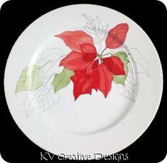 Block, Poinsettia - Page 1 Xmas Plates, Watercolor, Holiday, Poinsettia, Creative Design, Tableware Accessories, Dishware, Decorative Plates, Creative
