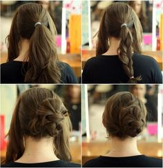 This braided bun style looks so easy. I like that it's slightly off center