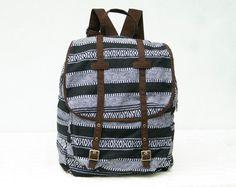 Black Tribal Rucksack Backpack Woven Native Indian by TaTonYon, $39.00
